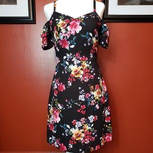 Express black and floral cold shoulder dress